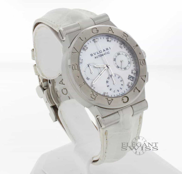 Bvlgari Diagono Diamond MOP Dial 36MM Automatic Chronograph Watch DG35SCH