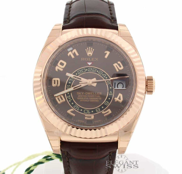 Rolex Sky-Dweller 18K Everose Gold Chocolate Sunray Dial 42MM Automatic Mens Watch 326135