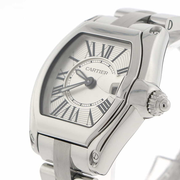 Cartier Roadster Silver Sunray Roman Dial Stainless Steel Ladies Watch W62016V3