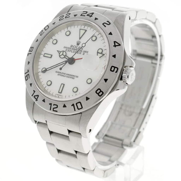 Rolex Explorer II 40MM White Dial Automatic Stainless Steel Mens Oyster Watch 16570
