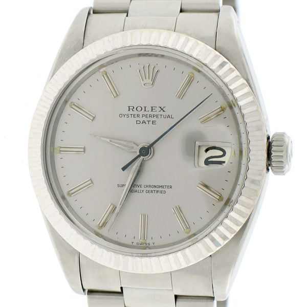Rolex Oyster Perpetual Date 34mm Silver Index Dial Automatic Stainless Steel Watch 1500