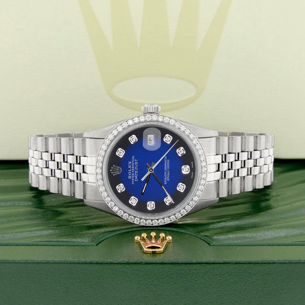 Rolex Datejust Steel 36mm Jubilee Watch 1.1CT Diamond Bezel/Blue Vignette Dial
