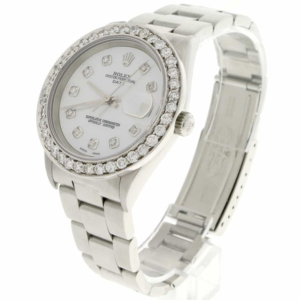 Rolex Oyster Perpetual Date 34mm Automatic Stainless Steel Watch 15200 w/MOP Diamond Dial & Bezel