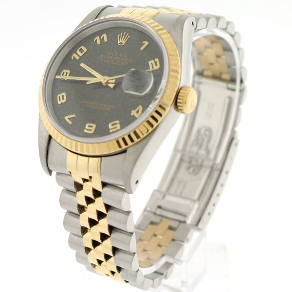 Rolex Datejust 2-Tone 18K Yellow Gold & Stainless Steel Factory Grey Jubilee Dial 36MM Automatic Mens Watch 16233