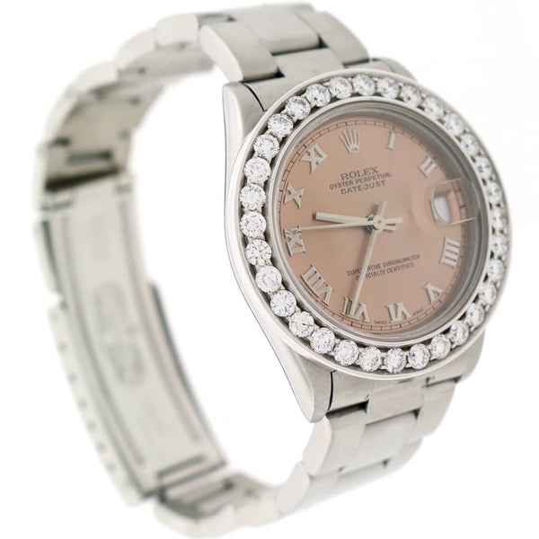 Rolex Datejust Midsize 31mm Original Salmon Roman Dial Automatic Steel Oyster Watch 68240 w/2.25Ct Diamond Bezel