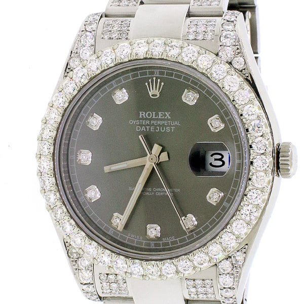 Rolex Datejust II 41MM StainlessSteel w/7.0Ct Diamond Dial, Lugs & Bracelet 116300 Box Papers