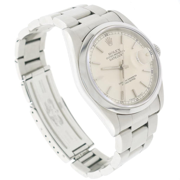Rolex Datejust Factory Silver Stick Dial 36MM Stainless Steel Automatic Oyster Mens Watch 16200