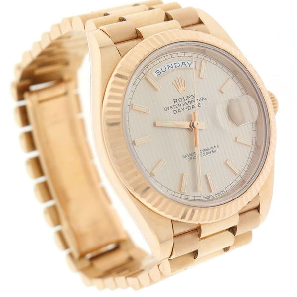 Rolex President Day-Date 40 18K Everose Gold Sundust Strip Motif Dial Automatic Mens Watch 228235