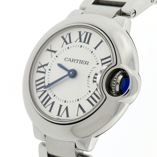 Cartier Ballon Bleu Small Silver Roman Dial 29MM Stainless Steel Ladies Watch W69010Z4