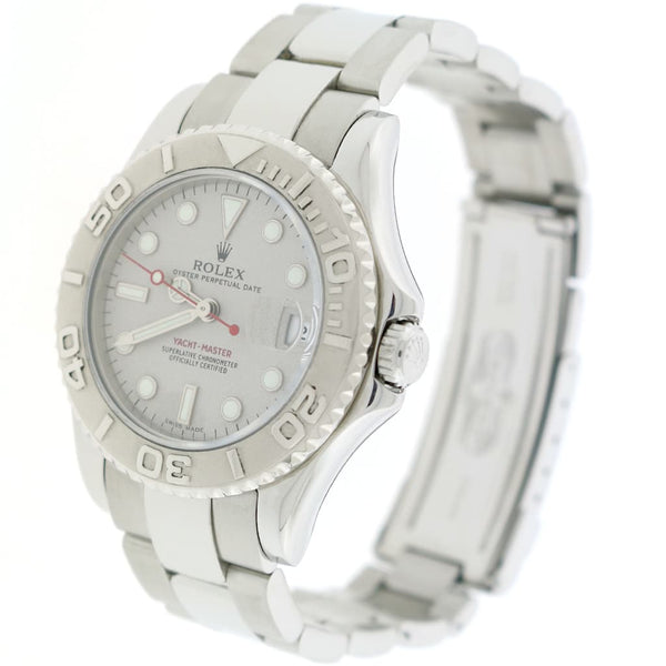 Rolex Yacht-Master Midsize Platinum Dial & Bezel 35MM Automatic Stainless Steel Oyster Watch 168622