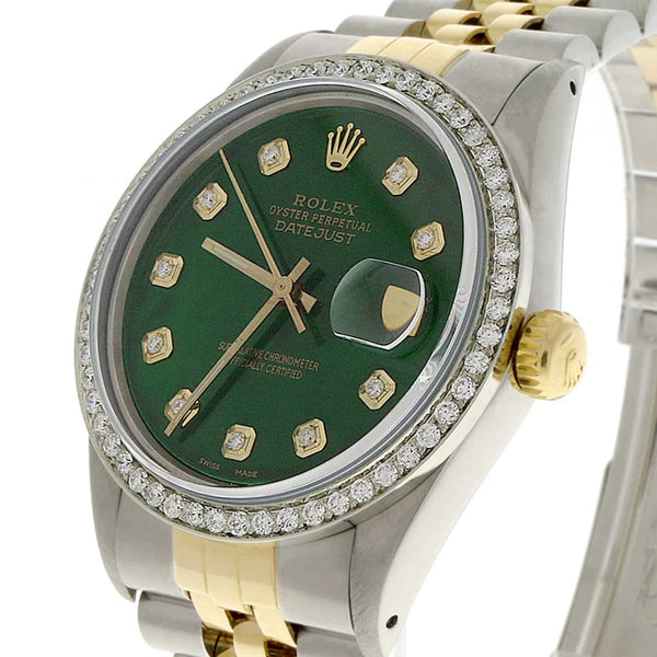 Rolex Datejust 2-Tone 18K Gold/SS 36mm Automatic Jubilee Watch with Emerald Green MOP Diamond Dial & 1.10Ct Bezel