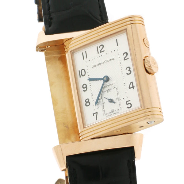 Jaeger-Le Coultre Grand Reverso Night & Day 18K Rose Gold Factory (Silver & Black) Dial 27MM Automatic Mens Watch Q3802520
