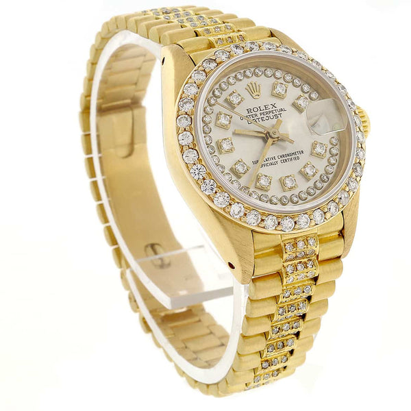 Rolex President Datejust 18K Yellow Gold 26MM Automatic Watch w/Diamond Dial/Bezel & Bracelet