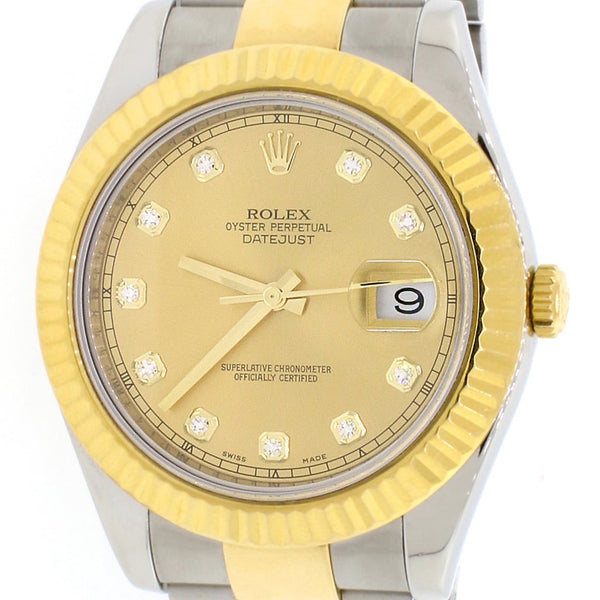 Rolex Datejust II 2-Tone18K Yellow Gold & Stainless Steel Factory Champagne Diamond Dial 41MM Automatic Mens Oyster Watch 116333