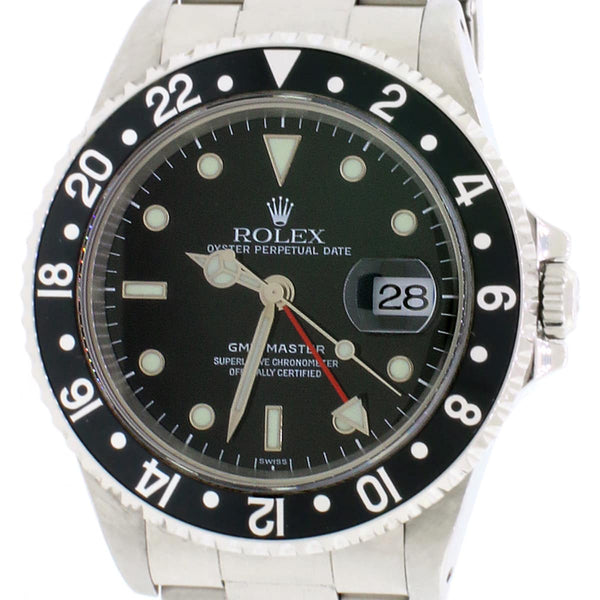 Rolex GMT-Master Black Bezel 40MM Automatic Stainless Steel Mens Oyster Watch 16700