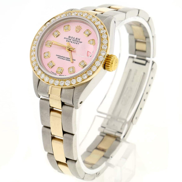 Rolex Datejust Ladies 2-Tone Gold/Steel 26MM Automatic Oyster Watch w/Pink Diamond Dial & Bezel