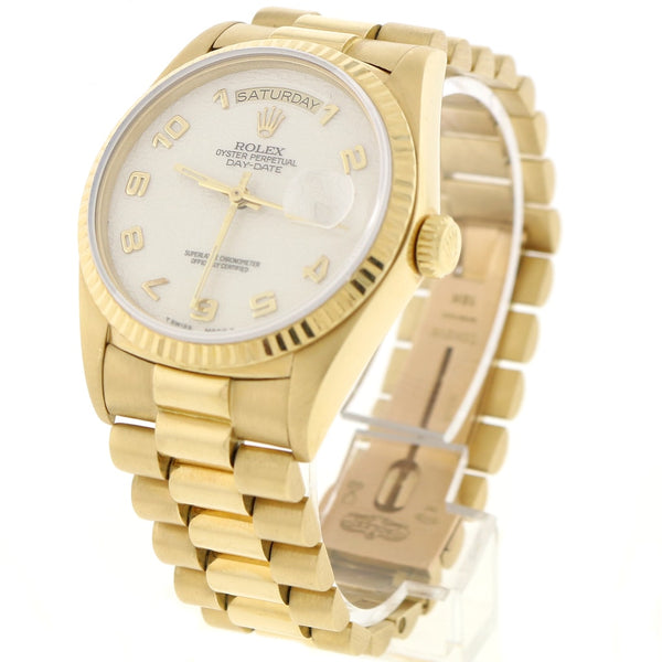 Rolex President Day-Date 18K Yellow Gold 36MM Factory Jubilee Cream Dial Automatic Mens Watch 18038