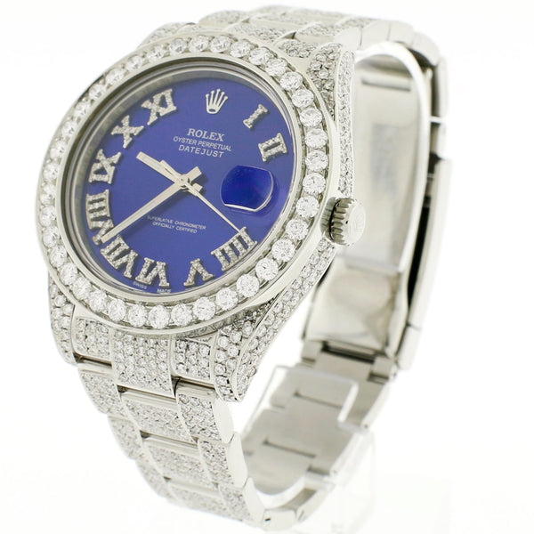 Rolex Datejust II 41MM Stainless Steel Automatic Mens Oyster Watch w/14.2Ct Diamond Dial, Bezel, & Bracelet 116300