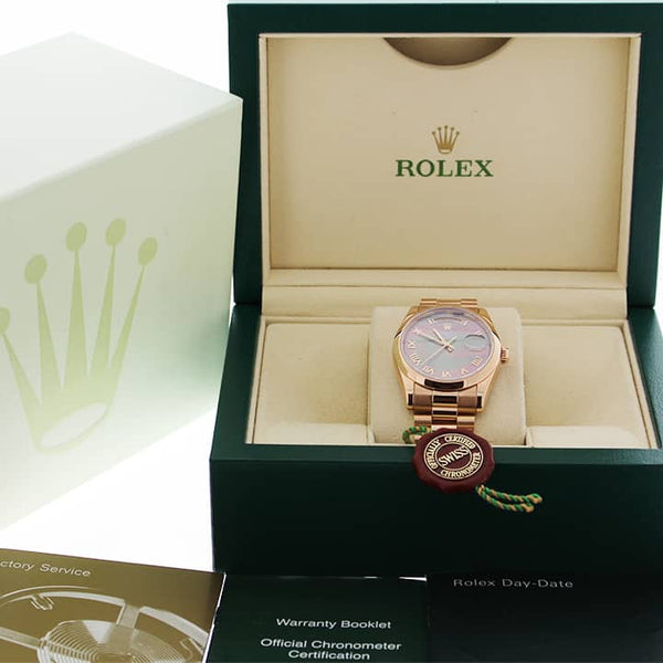 Rolex President Day-Date 18K Rose Gold Tahitian MOP Roman Dial 36MM Jubilee Automatic Mens Watch 118205