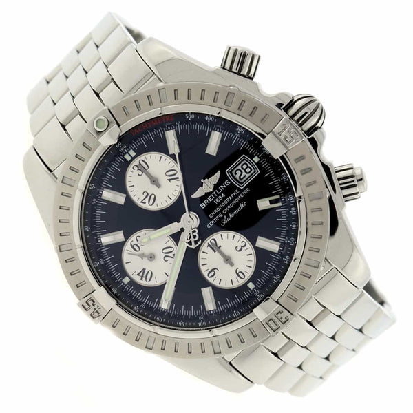 Breitling Chronomat Evolution Chronograph 44MM Black Dial Automatic Stainless Steel Mens Watch A13356