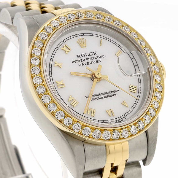 Rolex Datejust Ladies 2-Tone 18K Gold/Steel Original White Roman Dial 26mm Watch with Diamond Bezel