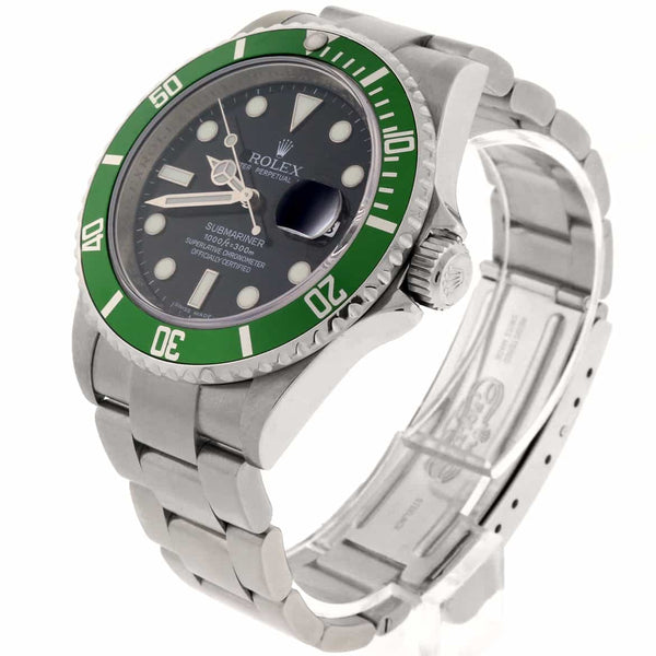 Rolex Submariner Date 40MM Green Bezel Automatic Stainless Steel Mens Oyster Watch 16610