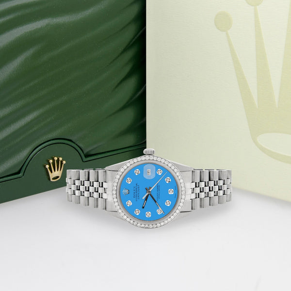 Rolex Datejust Steel 36mm Jubilee Watch 1.1CT Diamond Bezel/Blue Diamond Dial