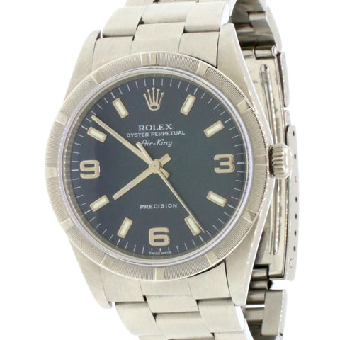 Rolex Air-King 34MM Blue Arabic/Index Dial Stainless Steel Oyster Watch 14010M