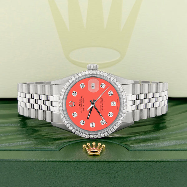 Rolex Datejust Steel 36mm Jubilee Watch Diamond Bezel Matt Coral Dial