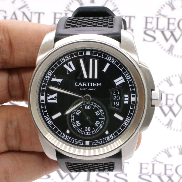 Cartier Calibre de Cartier 42mm Stainless Steel Watch w/Rubber Strap W7100041