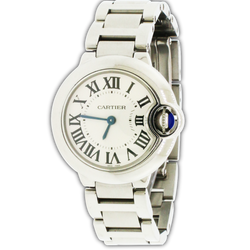 Cartier Ballon Bleu Small Silver Roman Dial 28MM Stainless Steel Ladies Watch W69010Z4