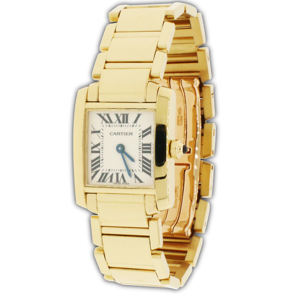 Cartier Tank Francaise Small 18K Yellow Gold 20MM Roman Dial Ladies Watch W50002N2
