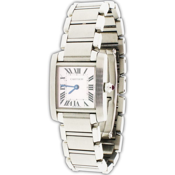 Cartier Tank Francaise Small 20MM MOP Roman Dial Steel Ladies Watch W51008Q3