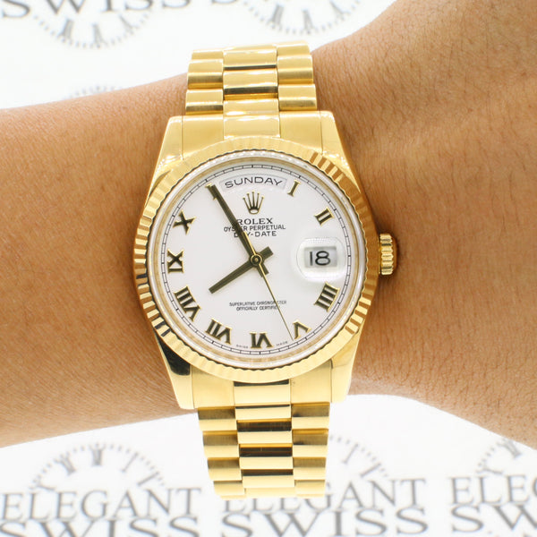 Rolex President Day-Date 18K Yellow Gold White Roman Dial 36MM Watch 118238