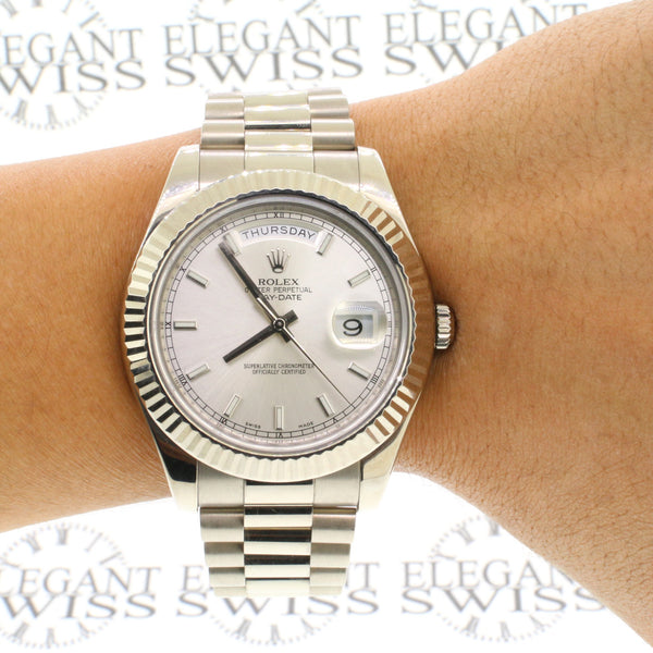 Rolex President Day-Date II 18K White Gold 41MM Mens Watch 218239