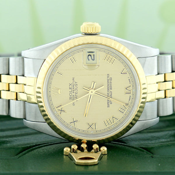 Rolex Datejust 2-Tone Gold/Steel Factory Champagne Roman Dial Midsize 31mm Womens Jubilee 68273
