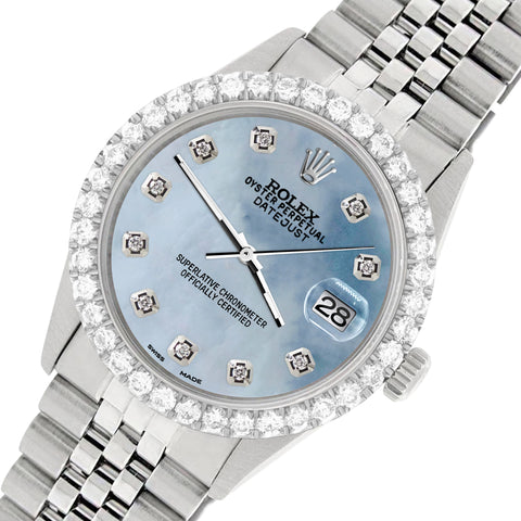Rolex Datejust 36MM Steel Watch with 3.05Ct Diamond Bezel/Sky Blue MOP Diamond Dial