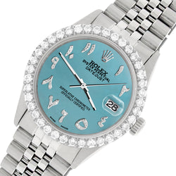 Rolex Datejust 36MM Steel Watch with 3.35CT Diamond Bezel/Turquoise Diamond Arabic Dial