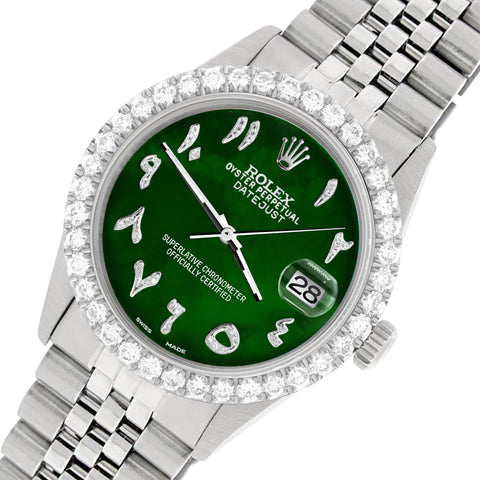 Rolex Datejust 36MM Steel Watch with 3.35CT Diamond Bezel/Green MOP Diamond Arabic Dial