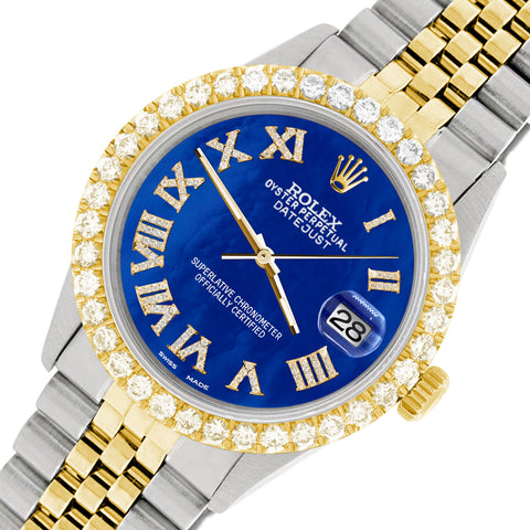 Rolex Datejust 36mm 2-Tone WATCH with 3.10ct Diamond Bezel/Royal Blue MOP Diamond Roman Dial