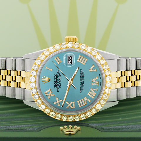 Rolex Datejust 36mm 2-Tone WATCH with 3.10ct Diamond Bezel/Turquoise Diamond Roman Dial