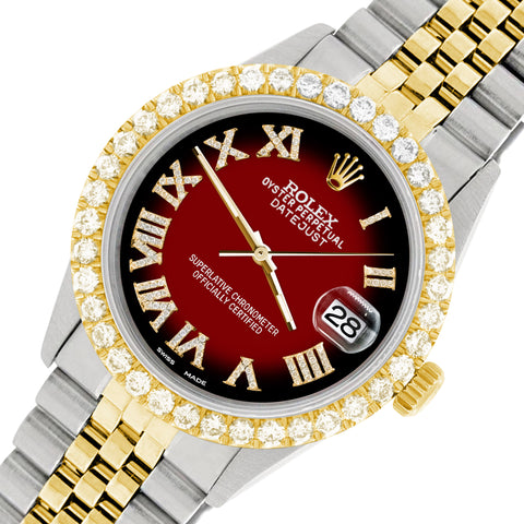 Rolex Datejust 36mm 2-Tone WATCH with 3.10ct Diamond Bezel/Vignette Red Black Diamond Roman Dial
