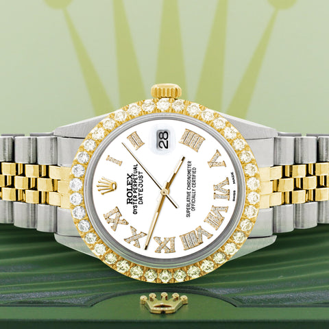 Rolex Datejust 36mm 2-Tone WATCH with 3.10ct Diamond Bezel/White Diamond Roman Dial