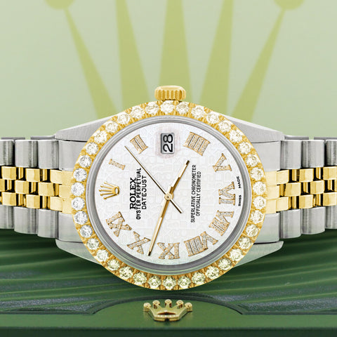 Rolex Datejust 36mm 2-Tone WATCH with 3.10ct Diamond Bezel/White Jubilee Diamond Roman Dial