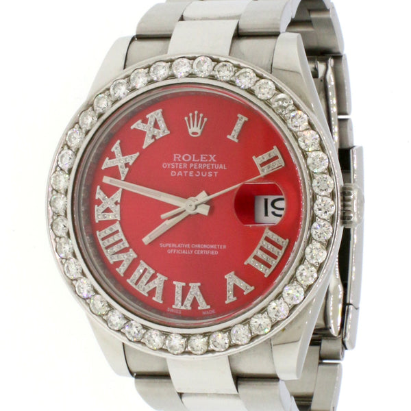 Rolex Datejust 41mm Steel Royal Red Dial Mens Oyster Watch 126300 Box Papers