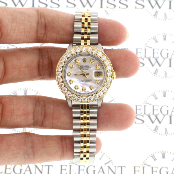 Rolex Datejust 26mm Yellow gold 2.0CT Diamond Bezel Watch w/ White MOP Diamond Dial