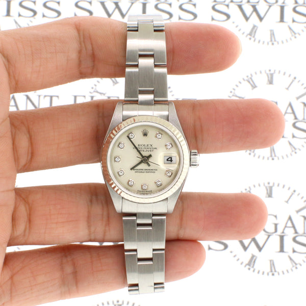 Rolex Datejust 18K Gold/Steel Factory Silver Diamond Dial 26mm Watch 79174