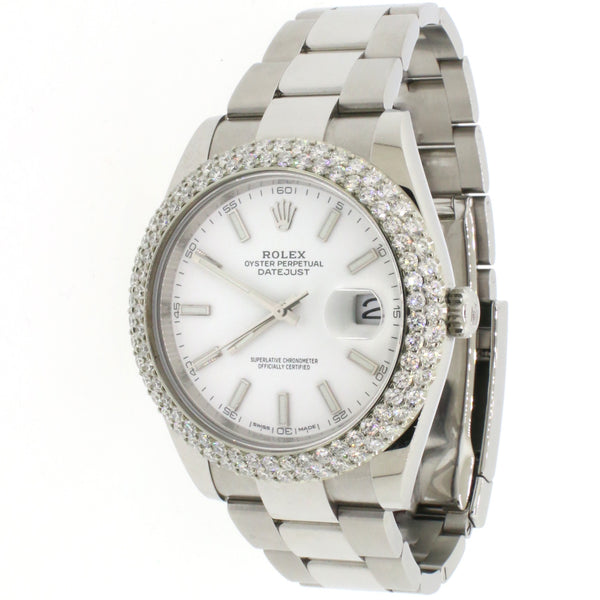 Rolex Datejust 41 Steel White Dial Mens Oyster Watch w/4.5CT Diamond Bezel 126300 Box Papers