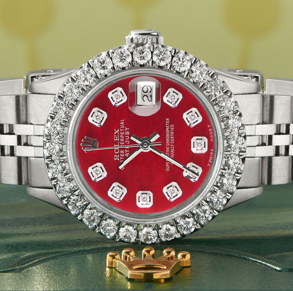 Rolex Datejust Steel 26mm Jubilee Watch 2CT Diamond Bezel / Candy Red MOP Dial