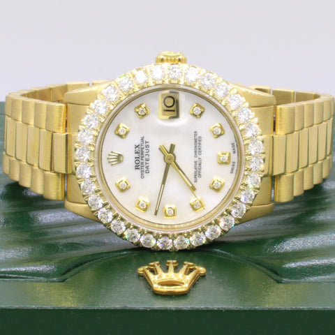Rolex President Datejust 18K Yellow Gold 31mm w/2.25ct Diamond Bezel Watch